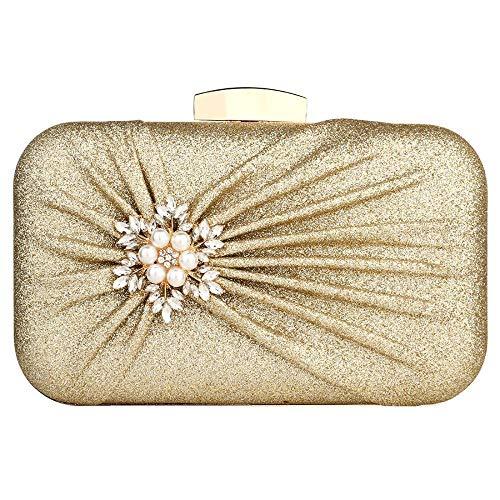 Damen Abendtasche Plissee Hochzeit Brautball Handtasche Gr. One size, gold