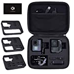 CamKix Case Compatible with GoPro Hero 7 / 6 / 5 Black - Perfect for Travel and Storage - Versatile EVA Interior with… 9 TRAVEL + STORAGE CASE: Keep your GoPro Hero 6 / 5 camera and accessories organized, dust-free and protected inside this case. Grab & Go when you're ready to shoot some spine-chilling action. Store it, when you're not. FOR GOPRO HERO 7/6/5 AND ACCESSORIES: This case is designed specifically for the GoPro Hero 5 Black camera. Tailor made, fits perfectly. The elastic mesh pocket and extra compartments are ideal to store flat mounts, quick release buckles, thumb screws, USB cable, memory cards, etc. VERSATILE INTERIOR: You can remove/add parts of the high quality EVA material to create different interior layouts for various purposes (see pictures for examples). Any interior layout you create will fit your GoPro Hero 5 camera and accessories seamlessly. The shock-absorbing padding provides extra protection to your camera and other equipment stored inside the case.