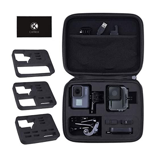 CamKix Case Compatible with GoPro Hero 7 / 6 / 5 Black - Perfect for Travel and Storage - Versatile EVA Interior with… 1 TRAVEL + STORAGE CASE: Keep your GoPro Hero 6 / 5 camera and accessories organized, dust-free and protected inside this case. Grab & Go when you're ready to shoot some spine-chilling action. Store it, when you're not. FOR GOPRO HERO 7/6/5 AND ACCESSORIES: This case is designed specifically for the GoPro Hero 5 Black camera. Tailor made, fits perfectly. The elastic mesh pocket and extra compartments are ideal to store flat mounts, quick release buckles, thumb screws, USB cable, memory cards, etc. VERSATILE INTERIOR: You can remove/add parts of the high quality EVA material to create different interior layouts for various purposes (see pictures for examples). Any interior layout you create will fit your GoPro Hero 5 camera and accessories seamlessly. The shock-absorbing padding provides extra protection to your camera and other equipment stored inside the case.