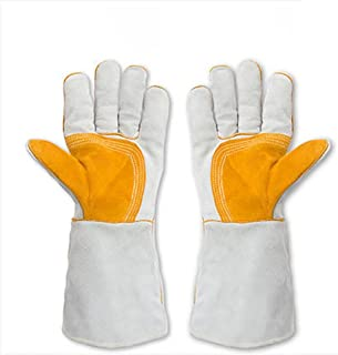 DAN Welding Gloves Double Layered Heat Resistant Lined Leather, for Mig, Tig Welders, BBQ, Gardening, Camping, Stove, Fireplace