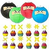 CYSJ Set de decoración de fiesta,Juego De Fiesta TemáTica De Ninja Anime JaponéS Feliz CumpleañOs Banner Globo Tarjeta De Pastel Fiesta Combinada