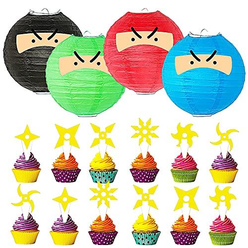 CYSJ Geburtstagsparty Supplies Themenparty Favors Dekorationen Banner Kuchen Topper Geschenk-Set Banner große Kuchen Topper Cupcake Topper für Ninja-Fans Jungen Mädchen