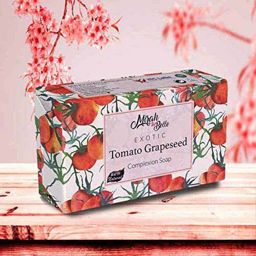 Mirah Belle - Organic Tomato Grapeseed Soap Bar (125 GMS) - BUY 2 GET 1 FREE - FDA Approved - For Skin Brightening and Whitening. Good for Dull, Pigmented and Blemished Skin. SLS, Paraben, GMO-Free