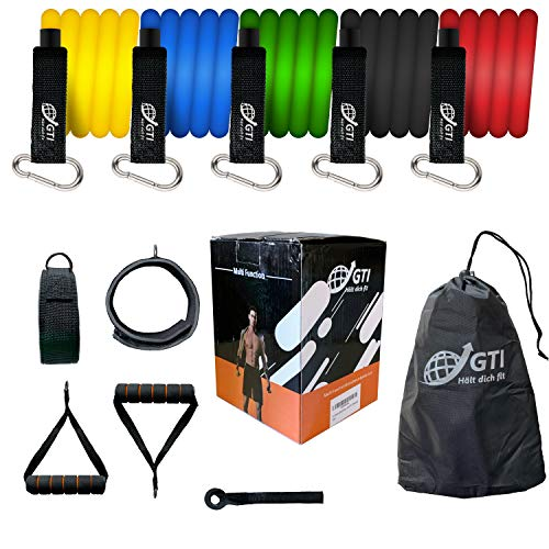 GTI Fitnessbänder Widerstandsbänder Set mit Griff - 5 fitnessband, Krafttraining Trainingsbänder mit Türanker Knöchel Strap Griff für Fitness Studio und zu Hause
