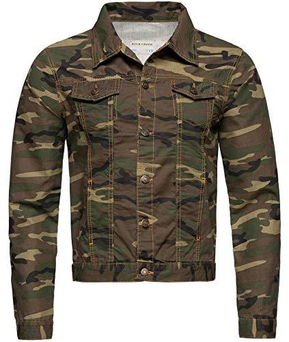 Rock Creek Herren Jeansjacke Denim Übergangsjacke Basic Stretch Jacke Herrenjacke Stonewashed Jeans Freizeitjacke Kentkragen Camouflage RC-2213 M
