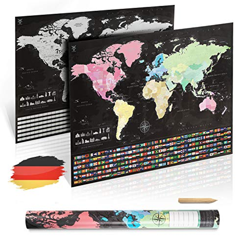 uranuspro - Scratch Off World Map/Detaillierte Weltkarte zum Rubbeln im XXL Poster Format 84 x 60 Rubbel Weltkarte (Deutsch)