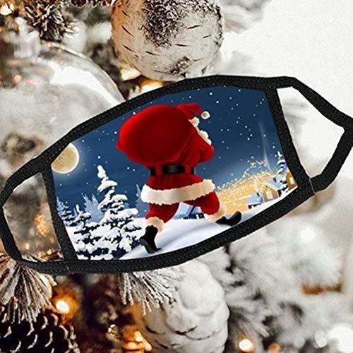 Deinaty Feliz Navidad Cara Máscara Cara Filtro Bandana Santa Elk Snowman Año Nuevo Unisex Reutilizable Transpirable Lavable Anti Polvo Protección Boca Pasamontañas de Seguridad para Motocicleta