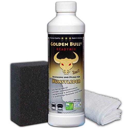 Golden Bull® READYMIX FÜR Kunstleder Set 3-teilig, Kunstlederreiniger, Kunstlederpflege Kunstleder Pflege biologisch ökologisch (2-in-1) 500ml + Spezialschwamm + Baumwolltuch, öko-Zertifiziert