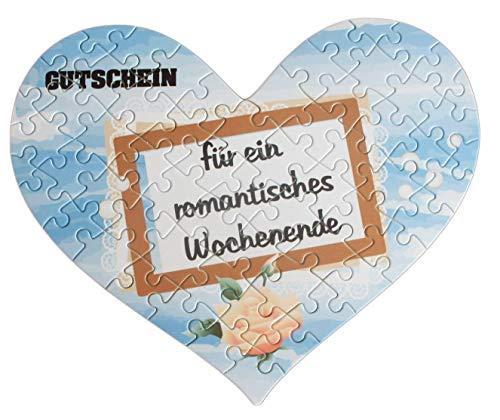 Herz Puzzle im Romantik-Design mit eigenem Text als Gutschein oder Antrag