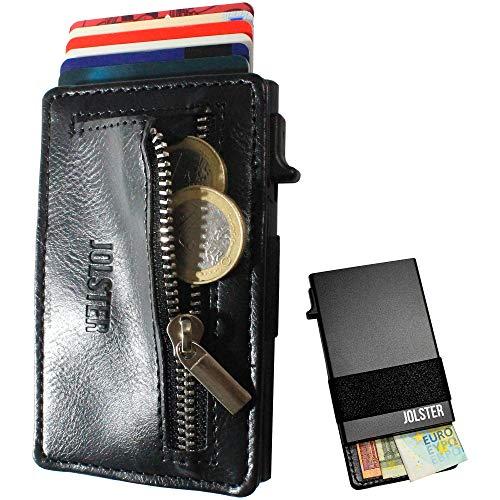 Cartera Minimalista para Tarjetas, Billetes y Monedas. Tarjetero Metálico Automático con Monedero Extraíble. Cartera Pequeña con Bloqueo RFID (Negro)