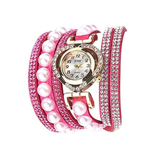 Fenverk Damen Armbanduhr, Retro Vintage Analog Quarz Uhr mit Schmetterling Beads Kugeln Charm Leder Armkette Armband,Spangenuhren Damen,Charm Armband,Analoge Uhren(Hot Pink#01)