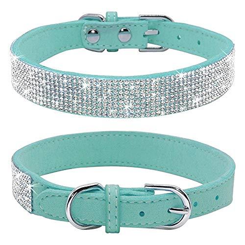 haoyueer Collar de perro con diamantes de imitación, bonito y deslumbrante ante ante suave de piel para perro, gato, collar de diamantes de imitación de cristal para mascotas (M, azul)