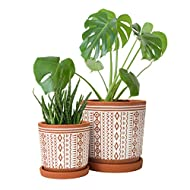 Set of 2, Terracotta Totem Design Planter Pot, 4 Inch and 6 Inch, Ceramic Plant Pot with Drainage Hole and Tray, Terracotta/White, Small