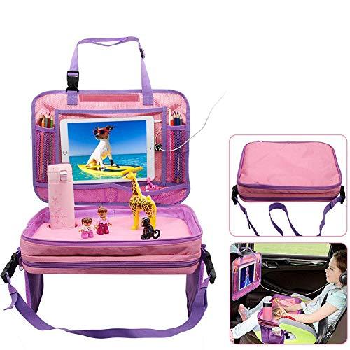 Gelible kinderen auto stoel reislade peuter Snack Play trays met verwijderbare mesh zakken lap-organizer voor vliegtuig wandelwagen, activiteit, leren en reizen (blauw) Detachable Pink