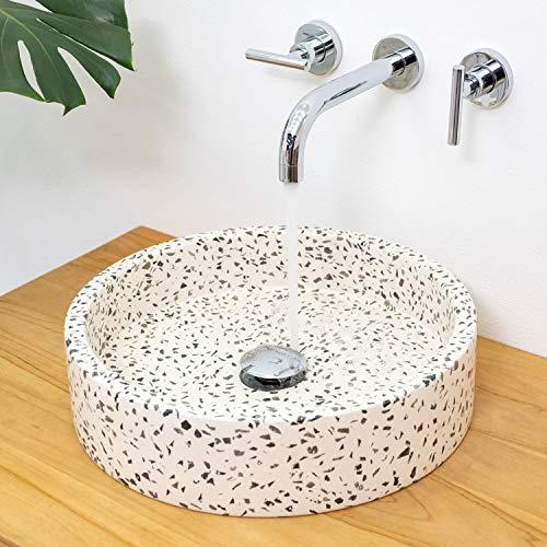 wohnfreuden Terrazzo Waschbecken Archi 40x40x10cm Creme schwarz Stein-Waschbecken Naturstein Waschschale Hand-Waschbecken Aufsatz-Waschbecken
