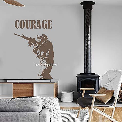 JJHR Wandtattoos Wandaufkleber Mut Zitat Wand Marine Soldat Silhouette Wandtattoo Kunstwanddekor Aufkleber Decals Boy Wohnheim Poster 42 * 62Cm, B