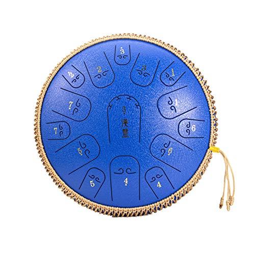 Qianyuyu Steel Pan Drum Stahl Tongue Drum 14 Zoll 15 Töne Hand Pan Drum mit Trommelschlägeln Tragetasche Note Sticks für Meditation Yoga für Anfänger Auf Professionellem Niveau,006