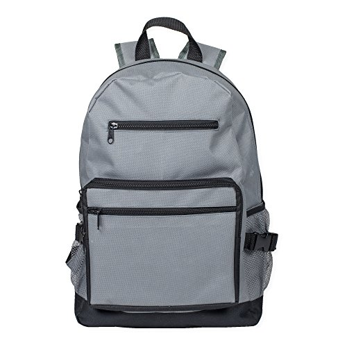 Reinforced and Water Resistant Padded Laptop School Backpack (Stone Grey)