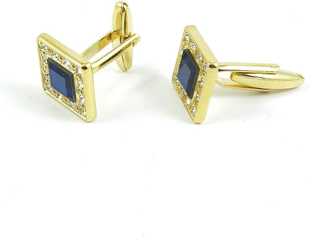Cufflinks Cuff Links Fashion Mens Boys Jewelry Wedding Party Favors Gift STH058 Blue Crystal Zircon