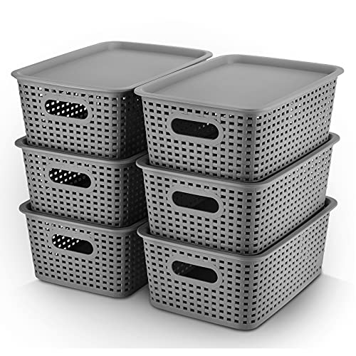 AREYZIN Plastic Storage Baskets With Lid Organizing Container Lidded Knit Storage Organizer Bins for Shelves Drawers Desktop Closet Playroom Classroom Office, 6 Pack