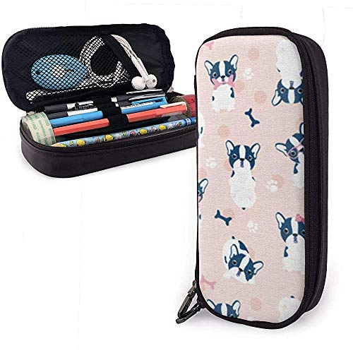Pink French Bulldog Bone Pen Case Big Capacity Pencil Bag Makeup Pouch Durable Students Stationery with Double Zipper