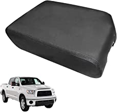 DSparts Center Console Lid Armrest Cover Leather for Toyota Tundra 2007-2011 2012-2013 Bucket Seat Black Leather Part Only
