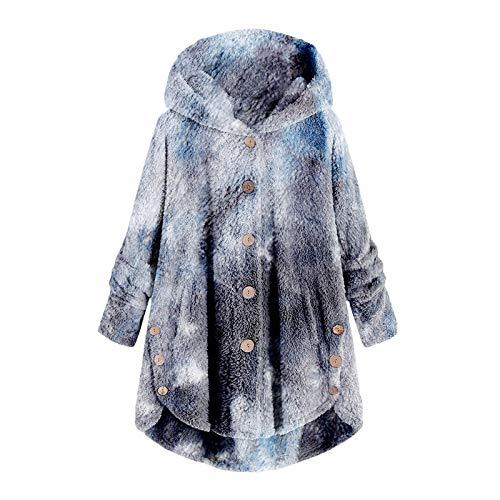 Auifor Dobladillo de Leopardo de Lana para Mujer Dobladillo con Botones Talla Grande Sudadera con Capucha Blusa Camisa de Felpa suéter(A-Marina/Medium)
