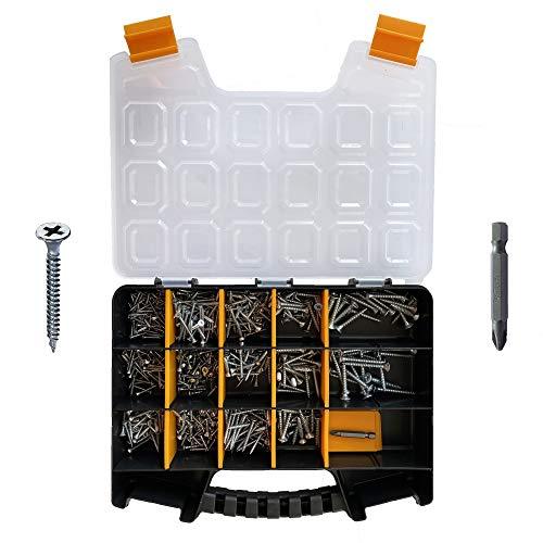 Wood Screws Assortment, 605 pcs M3/M3.5/M4/M5/M6 Flat Head - Phillips Drive, Chipboard & Wood & Drywall Screws Assortment, Metal Screws Assortment Kit by SA&CA
