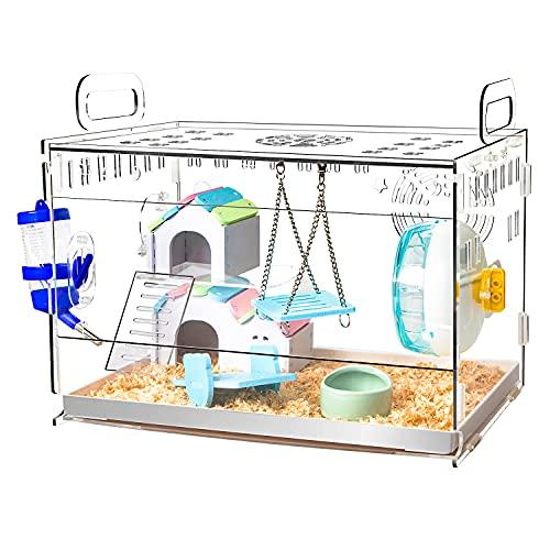 YOKITOMO ハムスターケージ 厚手タイプ 脱出にくい驚き透明感 まわし車 給水ボトルなど含めて7点セット 組立式 持ち運びやすい トレーデザイン お掃除しやすい 通気穴いっぱい 2段まで積み重ね可能 持ち運びやすい エコなアクリル製 (四代目 ) (