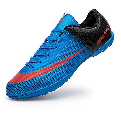 Topoption Fotbollsskor barn vuxna män professionella träningsskor utomhus Athletics Cleats skor unisex, - blå - 44 EU