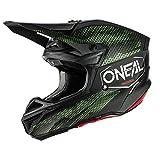 O'NEAL | Motorrad-Helm | Motocross, Enduro | 2 Außenschalen & 2 EPS für erhöhte Sicherheit, Schale aus ABS, Gummi Nasenschutz | 5SRS Polyacrylite Helmet Covert | Erwachsene | Schwarz Grün | Größe XS
