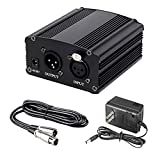 48V Phantom Power Supply with 5 feet Adapter, 8.2 feet Bonus+XLR 3 Pin Microphone Cable for Any Condenser Microphone Music Recording Equipment (Black)