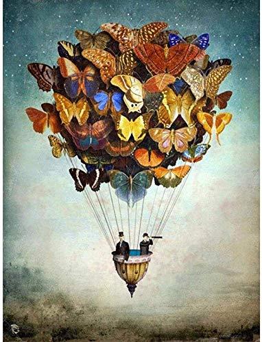 XADITON Malen nach Zahlen Kits für Erwachsene und Kinder Schmetterling Heißluftballon Mit Pinsel und Acrylpigment DIY Digitale Leinwand Malerei für Erwachsene Anfänger-16X20 Zoll Rahmenlos