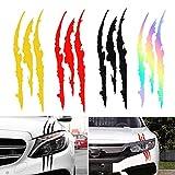 Vientiane Adesivo per Auto Graffi Artigli, 4 Pezzi Adesivi per Auto Mostro Graffio, Adesivo Mostro Artigli Segni, Decalcomanie per Decorazione Auto, Adesività Forte, Facile da Incollare