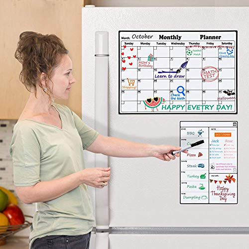 Homein Magnetic Dry Erase Calendar, Refrigerator Whiteboard Calendar Set with Weekly Planner, Magnetic Calendar White Board Planner for Fridge, Monthly and Weekly Family Calendar for Kitchen