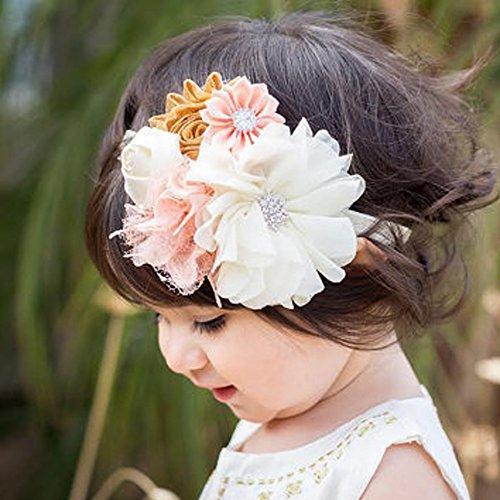 Kercisbeauty Bandeau pour bébé Fait main par Convient pour enfant et fille Fleurs et dentelle Bandeau réglable Style princesse Cadeau de noel