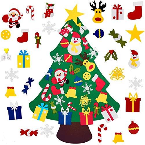 Feltro Albero Natale, DIY Staccabile Decorazione da Parete per Bambini Natale Albero di Natale in Feltro da Parete con Addobbi Natalizi Applicabili con Velcro Altezza