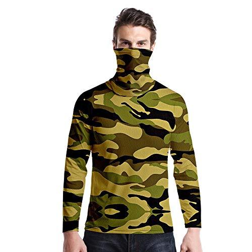 T-Shirt À Manches Longues,Casual Long Sleeve Imprimé Brun Vert Camouflage Col Rond Unisex T-Shirt Tops Imprimé Chemisier Body Shirt avec Écharpe Hommes Femmes Automne Hiver Pullover Sweatshirt,A