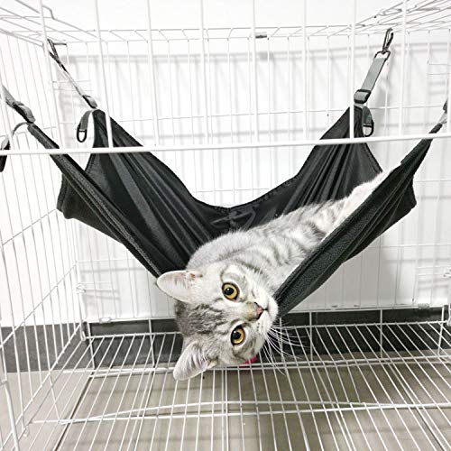 Shoplifemore Cojín de cama para gatos y gatitos para dormir, hamaca para mascotas, para colgar en la cama, para dormir, transpirable, cómoda jaula para gatos (1 pieza - 42 x 56 x 0,3 cm), color negro