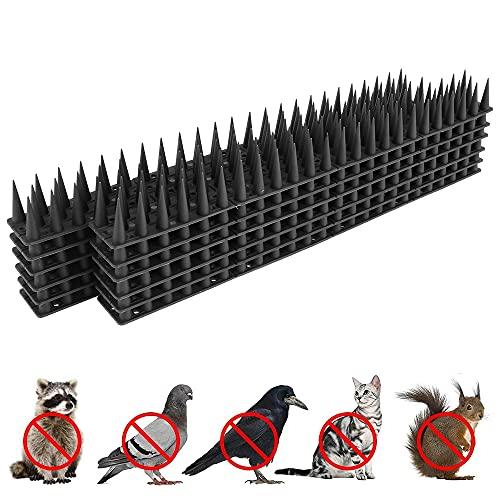 Maalr 12Pezzi Repellente per Uccelli in Plastica, Anti Dissuasori/Uccelli/Piccioni/Gatti Repellente Pannelli Spikes, Spike Repellenti per Esterno, Muro, Recinzione - 43 x 4 x 3,5 cm - 3 File (Nero)