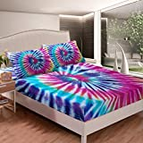 Feelyou Boho Psychedelic Bedding Set Rainbow Tie Dye Fitted Sheet for Girls Boys Children Multicolor Bohemian Gypsy Bed Cover Decorative Bed Sheet Set Chic Full Size