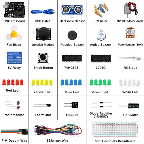 REES52 The Basic Starter kit for Arduino with UNO R3, Breadboard, LED, Resistor,Jumper Wires and Power Supply