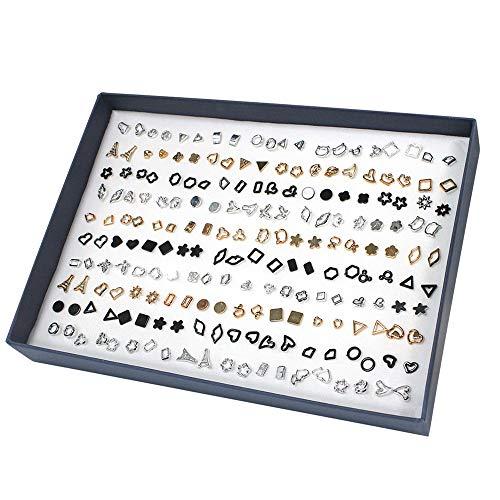 Ohrringe Set, PTN Mehrere Geometrische Ohrstecker Ohrringe Schmuck Hypoallergene Set mit Geschenk Box, Einfaches Temperament, Geeignet für Mädchen 100 Paare
