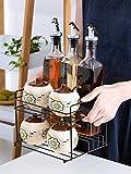 TUONABT Conveniente y practico Condimento Box Set Hogar condimento Botella Frasco de condimento Botella de Cristal de Aceite Olla de Aceite de condimento Rack Cocina de la Sal Pot