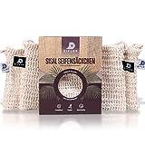 DIFLOR® Seifensäckchen [4er Set] 100% Vegan aus Sisal | Extra Groß mit zweifarbigen Labels zur...