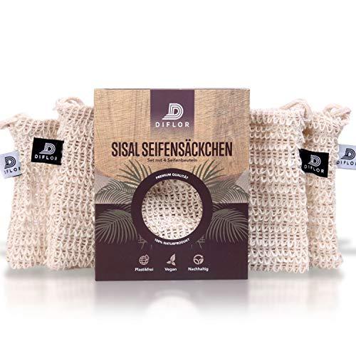 DIFLOR® Seifensäckchen [4er Set] 100% Vegan aus Sisal | Extra Groß mit zweifarbigen Labels zur Unterscheidung | komplett plastikfrei und nachhaltig | Verbinden Sie Wellness mit Umweltbewusstsein