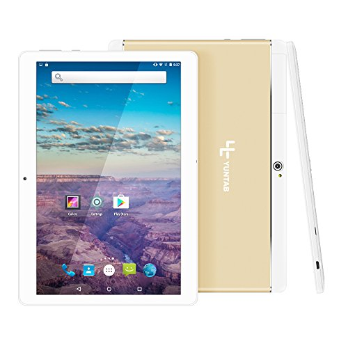Yuntab K17 3g Tablet 10.1 pollici Android 5.1 MTK 6580 Quad core 1,3GHz Metallo Alluminio back IPS 1280 * 800 high resolution phablet 16 Go Flash 1GB GPS Wi fi 5000mAh batteria Doppia slot SIM (Oro)