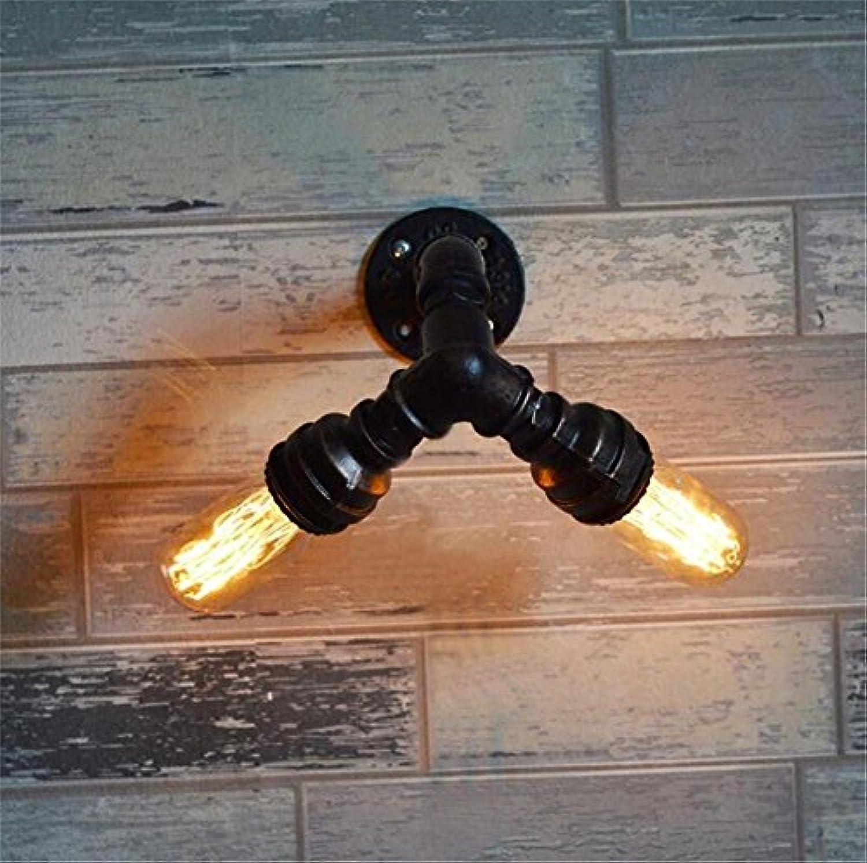 Abcoll Retro Wandleuchte Indoor Vintage Industrial Style E27 Sockel Doppelkopf Wandlampe Handmade Backlack Eisen Wasserrohr Wandleuchte Für Bar Restaurant Coffee Shop Und Heimgebrauch