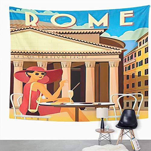 Y·JIANG Tapiz de paisaje urbano de Italia, mujer joven en la plaza frente al panteón en Roma, tapiz decorativo grande para el hogar, dormitorio, 203 x 152 cm