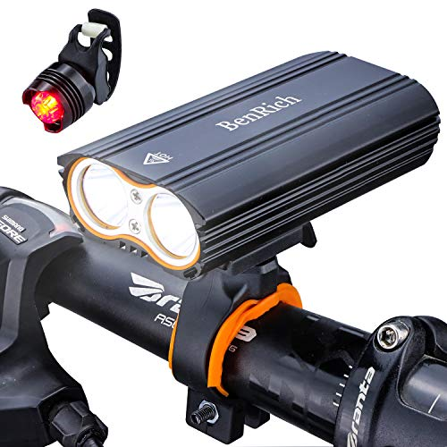 BenRich Bike Lights Set 2400 Lumens LED USB Rechargeable, Waterproof Cycling Bicycle Headlight Front and Back MTB Light, for Night Riding